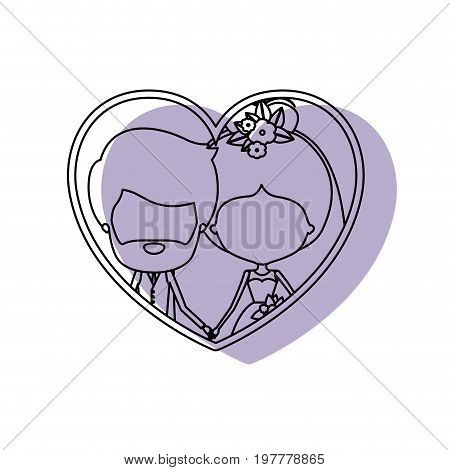 silhouette heart shape lilac shadow with contour faceless newly married couple inside of bearded groom with formal wear and bride with collected hairstyle and holdings hands vector illustration