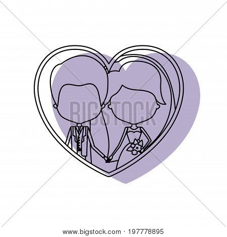 silhouette heart shape lilac shadow with contour faceless newly married couple inside of newly married couple groom with formal wear and bride with long hairstyle and holdings hands vector illustration