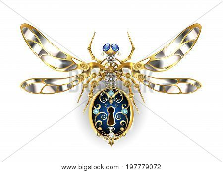 Mechanical insect with steel wings decorated with gold gears and round sapphires on a white background. Steampunk style. Mechanical insect.