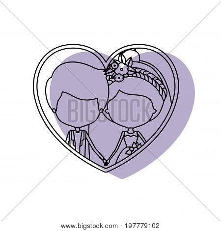 silhouette heart shape lilac shadow with contour faceless newly married couple inside of newly married couple young groom with formal wear and bride with collected hairstyle and holdings hands vector illustration