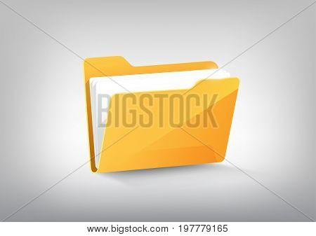 Yellow document file folder directory icon isolated on white grey, vector illustration