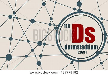Darmstadtium chemical element. Sign with atomic number and atomic weight. Chemical element of periodic table. Molecule And Communication Background. Connected lines with dots.