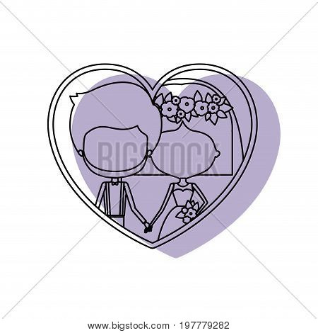 silhouette heart shape lilac shadow with contour faceless newly married couple inside of newly married couple bearded groom with formal wear and bride with straight short hairstyle and holdings hands vector illustration