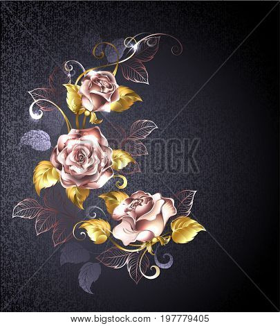 Three roses in pink gold with gold leaves on a black textured background. Pink gold. Design with roses.