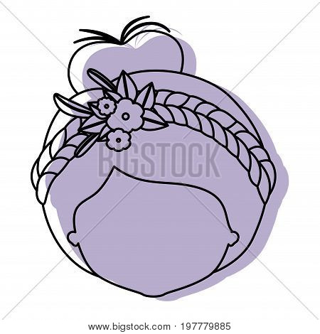 silhouette lilac color shadow of contour caricature closeup front view faceless woman with collected hairstyle and braid crown decorate with flowers vector illustration