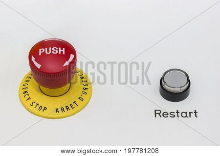 Red Emergency Stop And Black Reset Button