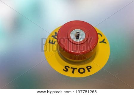Red Emergency Stop Button On Machine For Safety