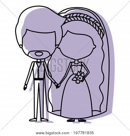 silhouette lilac color shadow of contour caricature faceless newly married couple groom with formal wear and bride with wavy long hairstyle vector illustration