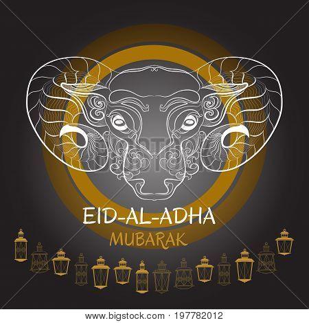 Eid-Al-Adha Mubarak. Vector illustration of sheep and lantern. Greeting card template for Muslim Community Festival of sacrifice Eid-Ul-Adha.