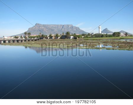 FROM CAPE TOWN, SOUTH AFRICA, MILNERTON LAGOON, WITH TABLE MOUNTAIN IN THE BACK GROUND 36vfr