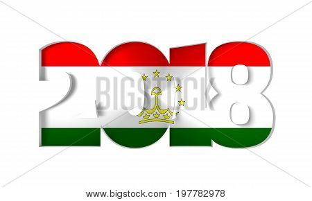 2018 Happy New Year Background for Seasonal Flyers and Greetings Card or Christmas themed invitations. Flag of the Tajikistan. 3D rendering