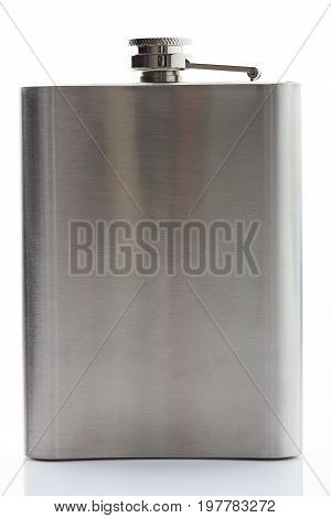 One metal flask isolated on white background. Stainless flask closeup