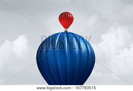 Big business assistance and support financial and corporate concept as a large air balloon lifting up a small entity as a symbol for investment and funding from a large economic entity as an angel investor with 3D illustration elements.