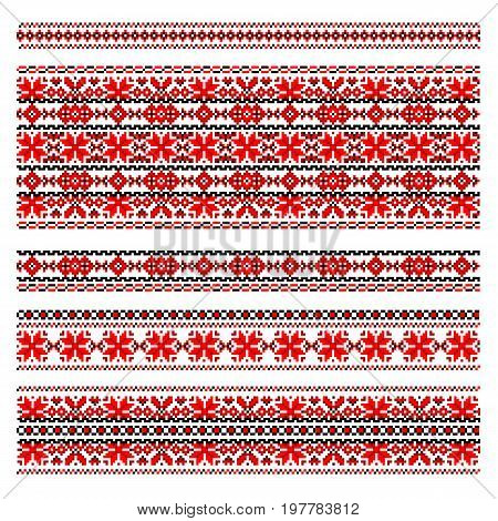 Traditional Ukraine folk art embroidery pattern. Red and black patterns isolated on white. Handmade cross-stitch ethnic Ukraine pattern. Set of red and black ethnic patterns for embroidery stitch.