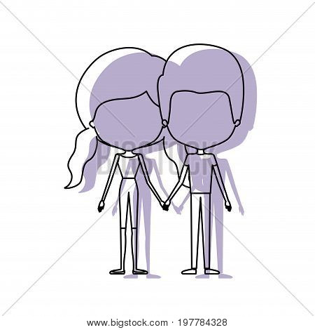 watercolor silhouette of faceless caricature couple standing and both with pants and her with pigtails hairstyle vector illustration