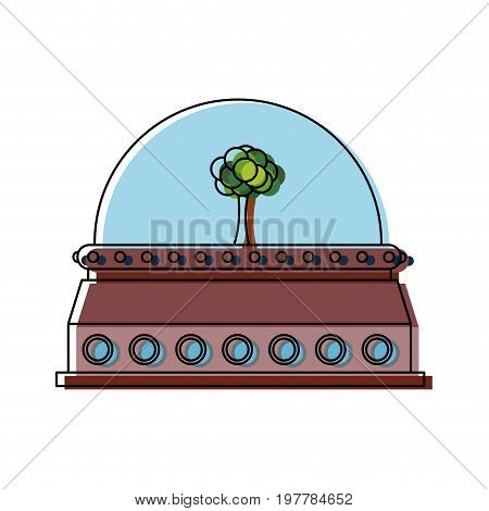tree in a protective dome glass ecology environment future vector illustration