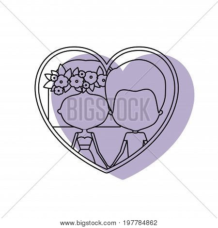 watercolor silhouette heart shape portrait with caricature faceless couple and him with short hair and her with dress and short hairstyle and floral crown accesory vector illustration