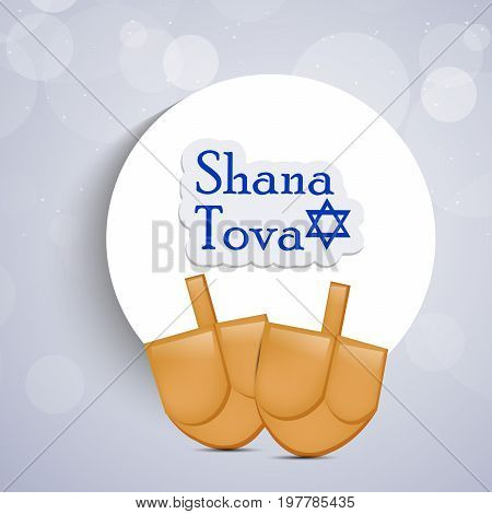 illustration of shana tova text on moon background on the occasion of Jewish New Year Shanah Tovah. Translation: