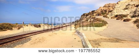 Train Tracks Run Through San Clemente State Beach