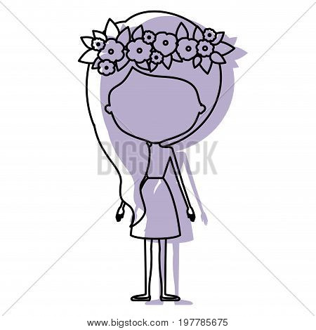 watercolor silhouette with skinny faceless woman in dress with wavy side long hairstyle and flower crown accesory vector illustration