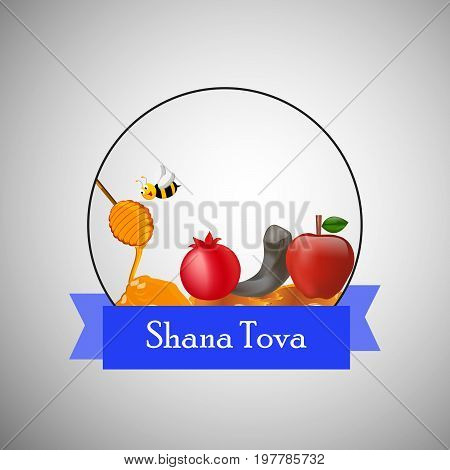 illustration of bee, honey, apple, pomegranate, shofar with shana tova text on the occasion of Jewish New Year Shanah Tovah.  Translation: