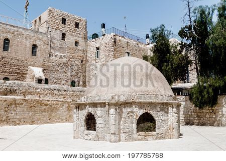 Extension in the courtyard of the Dome in Ethiopian monastery near the Church of the Holy Sepulchre in the old city of Jerusalem Israel.