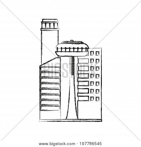 buildings business city architecture commercial major central district with offices vector illustration