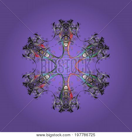 Snowflake colorful pattern. Flat design with abstract snowflakes isolated on colors background. Vector illustration. Snowflakes pattern. Vector snowflakes background.