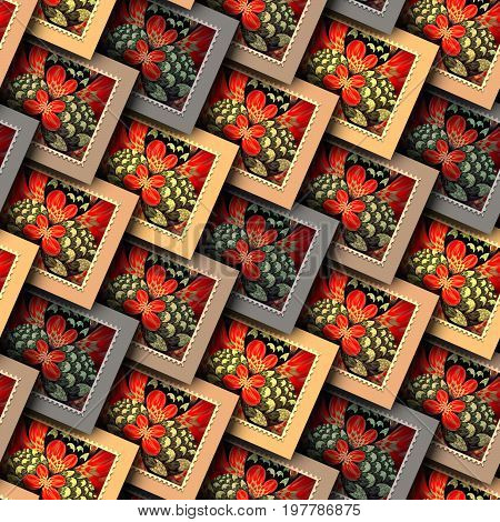 Background seamless tile with embossed seamless fractal stamp pattern on leather