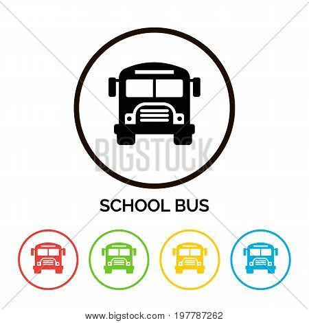 School bus icon set isolated on white background. Happy School Year. Back To School Background. Back to school shopping. Super sale. Vector illustration.