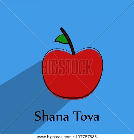 illustration of apple with shana tova text on the occasion of Jewish New Year Shanah Tovah