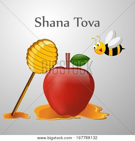 illustration of bee, honey and apple with shana tova text on the occasion of Jewish New Year Shanah Tovah