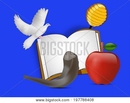 illustration of pigeon, honey, apple, book, shofar on the occasion of Jewish New Year Shanah Tovah. Translation: a good year