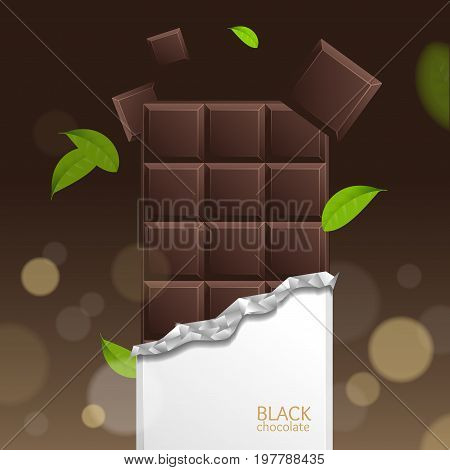 Chocolate Package Bar Blank - Dark, Pieces on Brown background and Mint Feaf. Vector 3d illustration with Open Paper Pack.