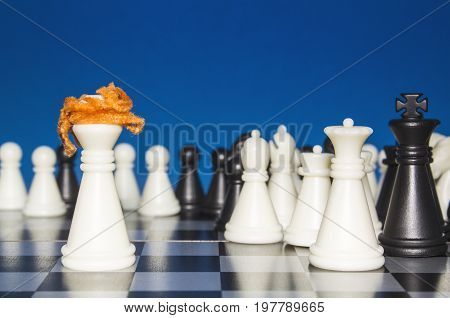 Chess As A Policy. A Lone White Figure With Red Hair Against The White And Black Figures With The Te