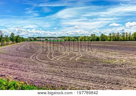 Quebec Farm Landscape With Brown Plowed Field In Summer With House And Barn In Canada