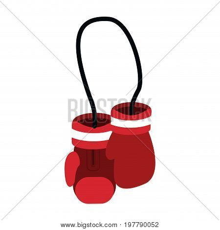 hanging boxing gloves sport accessories protection vector illustration