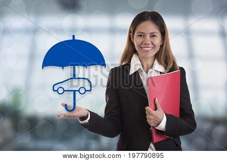 salesman agent hand holding umbrella protection car. concept accident prevention healthcare