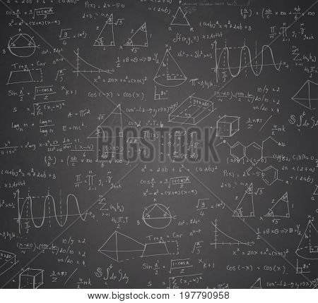 mathematical formula and statistic math on blackboard for background.