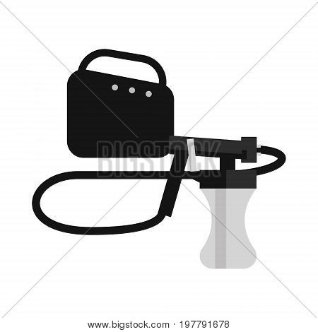 Vector illustration with tan spray machine on white isolated background