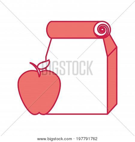 Lunch bag in paper bag with apple vector illustration design