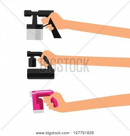Vector illustration with tan spray machine with human hand on white isolated background