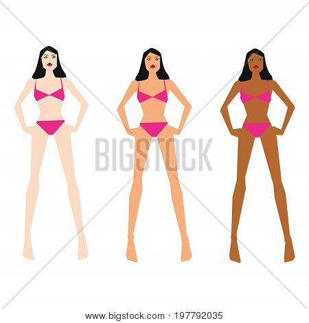 Vector illustration with three tan skin colors on white isolated background
