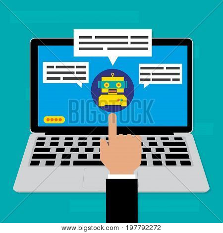 Chatbot on computer laptop.Vector illustration Chatbots AI artificial intelligence technology concept.