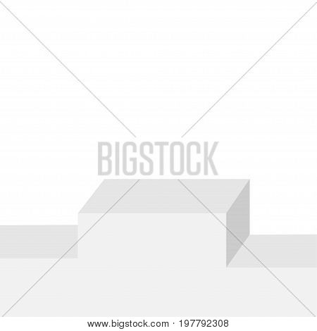 Empty winners square stage podium with first second and third place for award ceremony. 3d realistic platform for design. Isolated. White background Isolated Template Flat design. Vector illustration