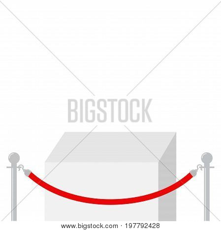 Red rope barrier stanchions turnstile facecontrol Square stage podium. Empty pedestal for display. 3d realistic platform for design. White background Template. Flat design Vector