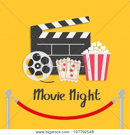 Movie night. Red rope barrier stanchions turnstile facecontrol Open clapper board reel Popcorn box Ticket Admit one Three star Cinema icon set. Flat design style Yellow background. Vector illustration