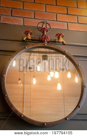 Vintage mirror decorated on old style wall stock photo