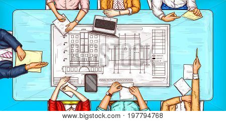 Vector pop art illustration of a man and a woman sitting at a negotiation table with a building plan lying on it, top view. Concept of brainstorming