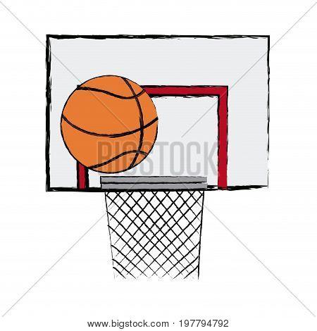 ball basket basketball score shooting game vector illustration